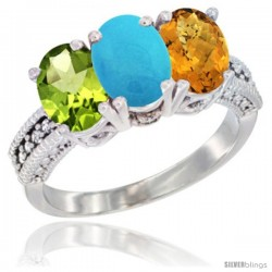 14K White Gold Natural Peridot, Turquoise & Whisky Quartz Ring 3-Stone Oval 7x5 mm Diamond Accent