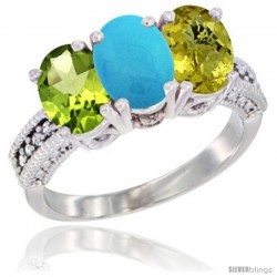 14K White Gold Natural Peridot, Turquoise & Lemon Quartz Ring 3-Stone Oval 7x5 mm Diamond Accent