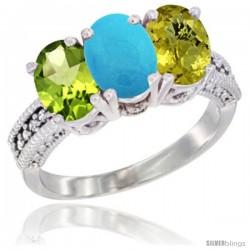 14K White Gold Natural Peridot, Turquoise & Lemon Quartz Ring 3-Stone Oval 7x5 mm Diamond Accent