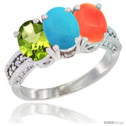 14K White Gold Natural Peridot, Turquoise & Coral Ring 3-Stone Oval 7x5 mm Diamond Accent