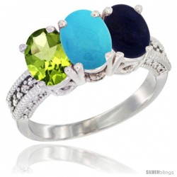 14K White Gold Natural Peridot, Turquoise & Lapis Ring 3-Stone Oval 7x5 mm Diamond Accent