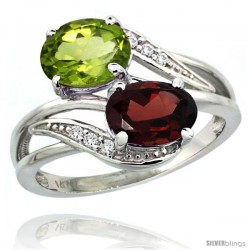 14k White Gold ( 8x6 mm ) Double Stone Engagement Garnet & Peridot Ring w/ 0.07 Carat Brilliant Cut Diamonds & 2.34 Carats Oval