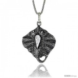 Sterling Silver Sting Ray Pendant, 7/8 in Tall