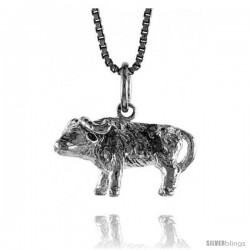 Sterling Silver Chinese Zodiac Pendant, for Year of the OX, 1/2 in Tall