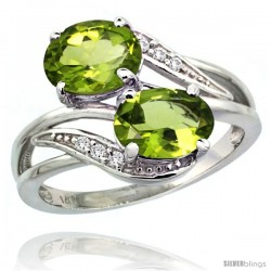14k White Gold ( 8x6 mm ) Double Stone Engagement Peridot Ring w/ 0.07 Carat Brilliant Cut Diamonds & 2.34 Carats Oval Cut