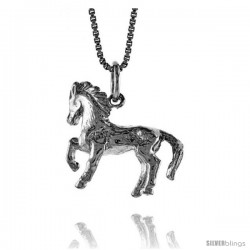 Sterling Silver Chinese Zodiac Pendant, for Year of the HORSE, 3/4 in Tall