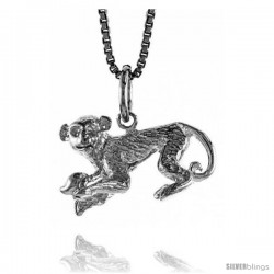 Sterling Silver Chinese Zodiac Pendant, for Year of the MONKEY, 1/2 in Tall