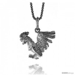Sterling Silver Chinese Zodiac Pendant, for Year of the ROOSTER, 1/2 in Tall