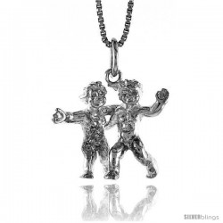 Sterling Silver Zodiac Charm for GEMINI 3/4 in Tall