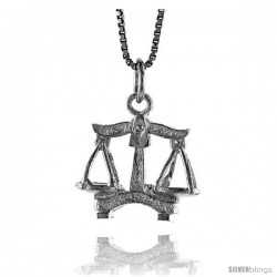 Sterling Silver Zodiac Charm for LIBRA 3/4 in Tall