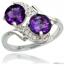 14k White Gold ( 7 mm ) Double Stone Engagement Amethyst Ring w/ 0.05 Carat Brilliant Cut Diamonds & 2.34 Carats Round Stones