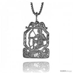 Sterling Silver Zodiac Pendant, for SAGITTARIUS 3/4 in Tall