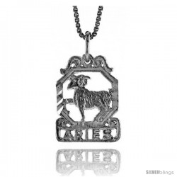 Sterling Silver Zodiac Pendant, for ARIES 3/4 in Tall
