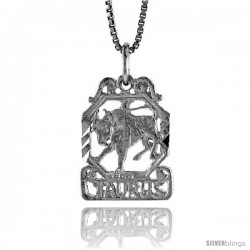 Sterling Silver Zodiac Pendant, for TAURUS 3/4 in Tall
