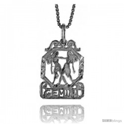 Sterling Silver Zodiac Pendant, for GEMINI 3/4 in Tall