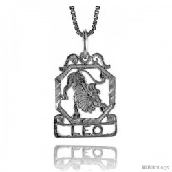 Sterling Silver Zodiac Pendant, for LEO 3/4 in Tall