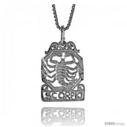 Sterling Silver Zodiac Pendant, for SCORPIO 3/4 in Tall