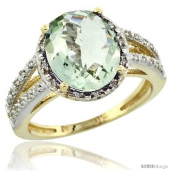 10k Yellow Gold Diamond Halo Green Amethyst Ring 2.85 Carat Oval Shape 11X9 mm, 7/16 in (11mm) wide