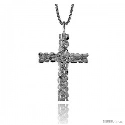Sterling Silver Nugget Cross Pendant, 1 1/8 in