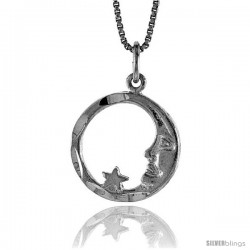 Sterling Silver Moon & Star Pendant, 5/8 in Tall