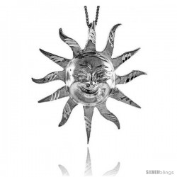 Sterling Silver Large Sun Pendant, 2 in Tall