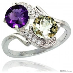 14k White Gold ( 7 mm ) Double Stone Engagement Purple & Green Amethyst Ring w/ 0.05 Carat Brilliant Cut Diamonds & 2.34 Carats