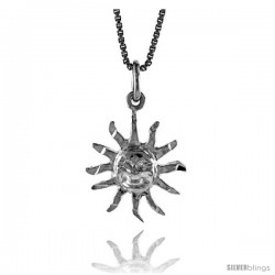 Sterling Silver Sun Pendant, 5/8 in Tall