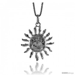 Sterling Silver Sun Pendant, 7/8 in Tall