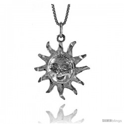 Sterling Silver Sun Pendant, 7/8 in Tall -Style 4p714