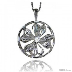 Sterling Silver 4 leaf Clover Pendant, 7/8 in Tall