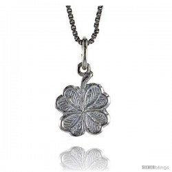 Sterling Silver 4 leaf Clover Pendant, 1/2 in Tall