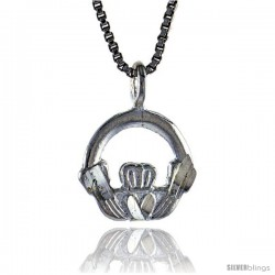 Sterling Silver Small Claddagh Pendant, 1/2 in Tall