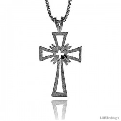 Sterling Silver Cross Pendant, 1 1/4 in -Style 4p72
