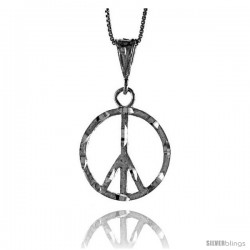 Sterling Silver Large Peace Sign Pendant7/8 in Tall