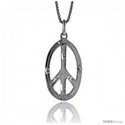 Sterling Silver Oval Peace Sign Pendant, 7/8 in Tall