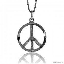 Sterling Silver Peace Sign Pendant, 3/4 in Tall