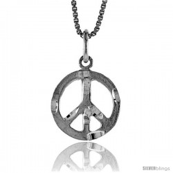 Sterling Silver Small Peace Sign Pendant, 1/2 in Tall