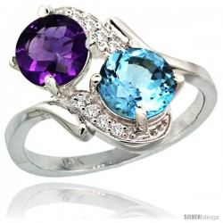 14k White Gold ( 7 mm ) Double Stone Engagement Amethyst & Swiss Blue Topaz Ring w/ 0.05 Carat Brilliant Cut Diamonds & 2.34