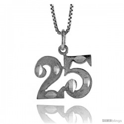 Sterling Silver number 25 Charm, 1/2 in Tall