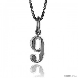 Sterling Silver Small number 9 Charm, 1/2 in tall