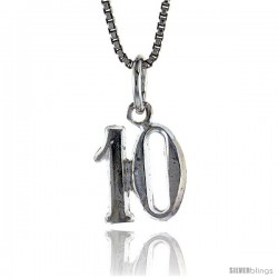 Sterling Silver Small number 10 Charm, 1/2 in Tall