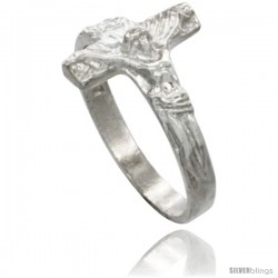 Sterling Silver Crucifix Ring Polished finish 1/2 in wide