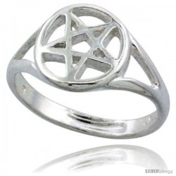 Sterling Silver 5 Point Star Pentagram Ring Polished finish 1/2 in wide