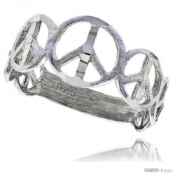 Sterling Silver Peace Sign Ring Polished finish 5/16 in wide