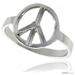 Sterling Silver Peace Sign Ring Polished finish 1/2 in wide