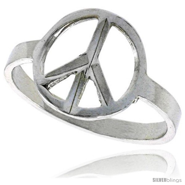 Sterling Silver Peace Sign Ring Polished Finish 12 In Wide