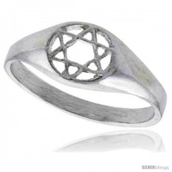 Sterling Silver Star of David Ring Polished finish 5/16 in wide