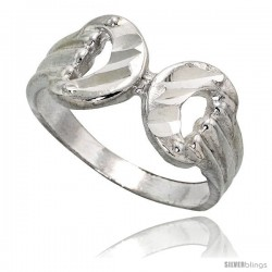 Sterling Silver Horse Bit Ring Polished finish 3/8 in wide