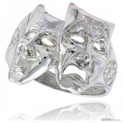 Sterling Silver Drama Masks Ring Polished finish 11/16 in wide -Style Ffr486