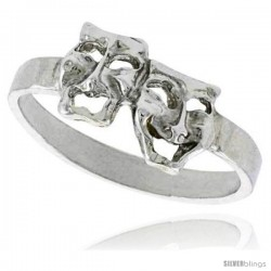 Sterling Silver Drama Masks Ring Polished finish 3/8 in wide